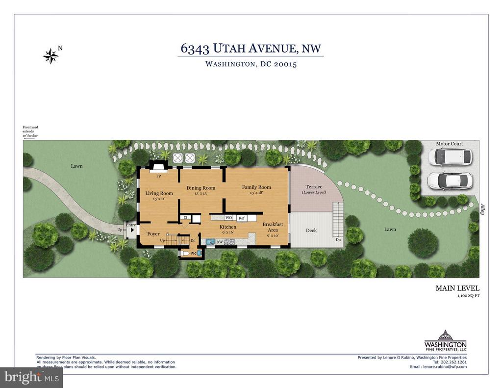 Floor plan main level & exterior - 6343 UTAH AVE NW, WASHINGTON