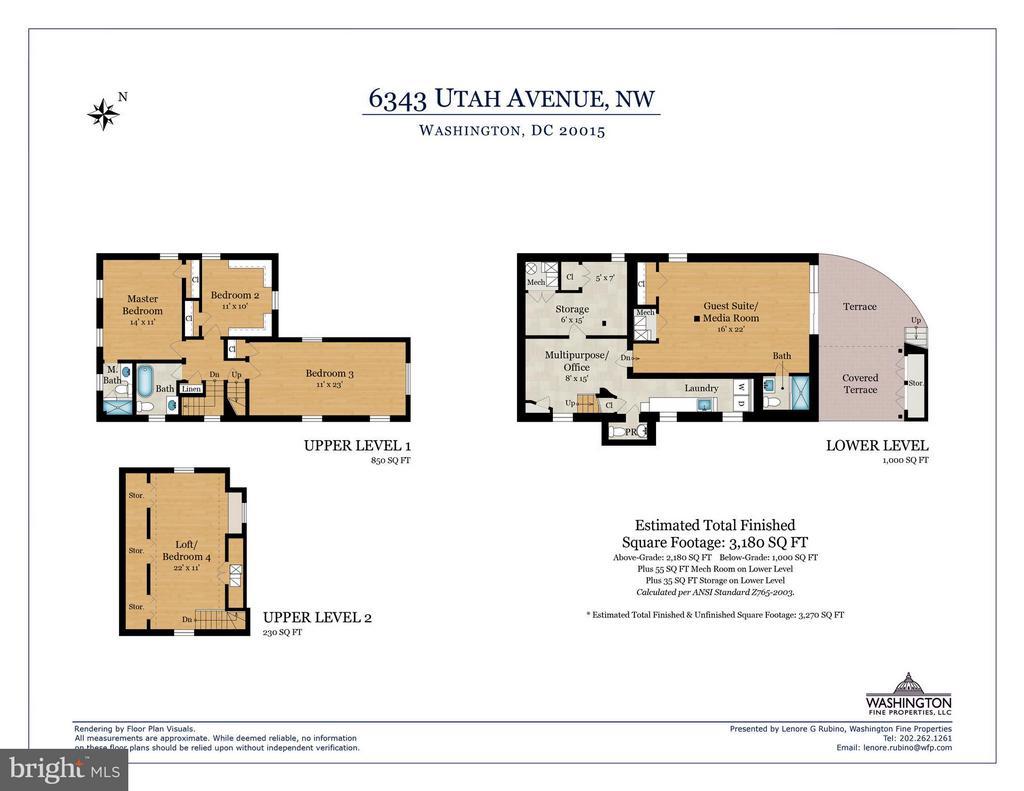 Floor plan lower level and upper levels - 6343 UTAH AVE NW, WASHINGTON