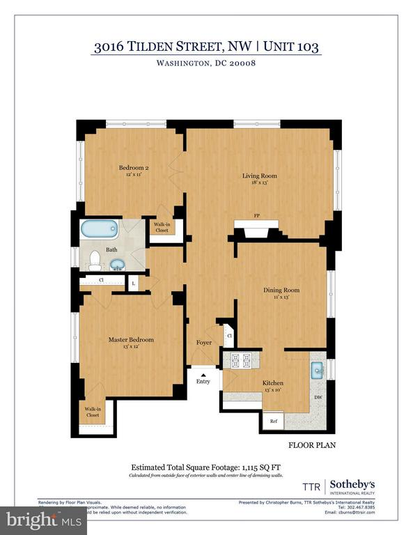 Floor Plan showing over 1,100 SQF - 3016 TILDEN ST NW #103, WASHINGTON