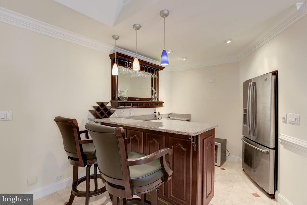 Basement bar with Fridge and dishwasher - 8142 OLD DOMINION DR, MCLEAN