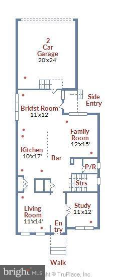 FLOOR PLAN: Main Level (All Hardwood) - 22504 HEMLOCK HILLS PL, CLARKSBURG