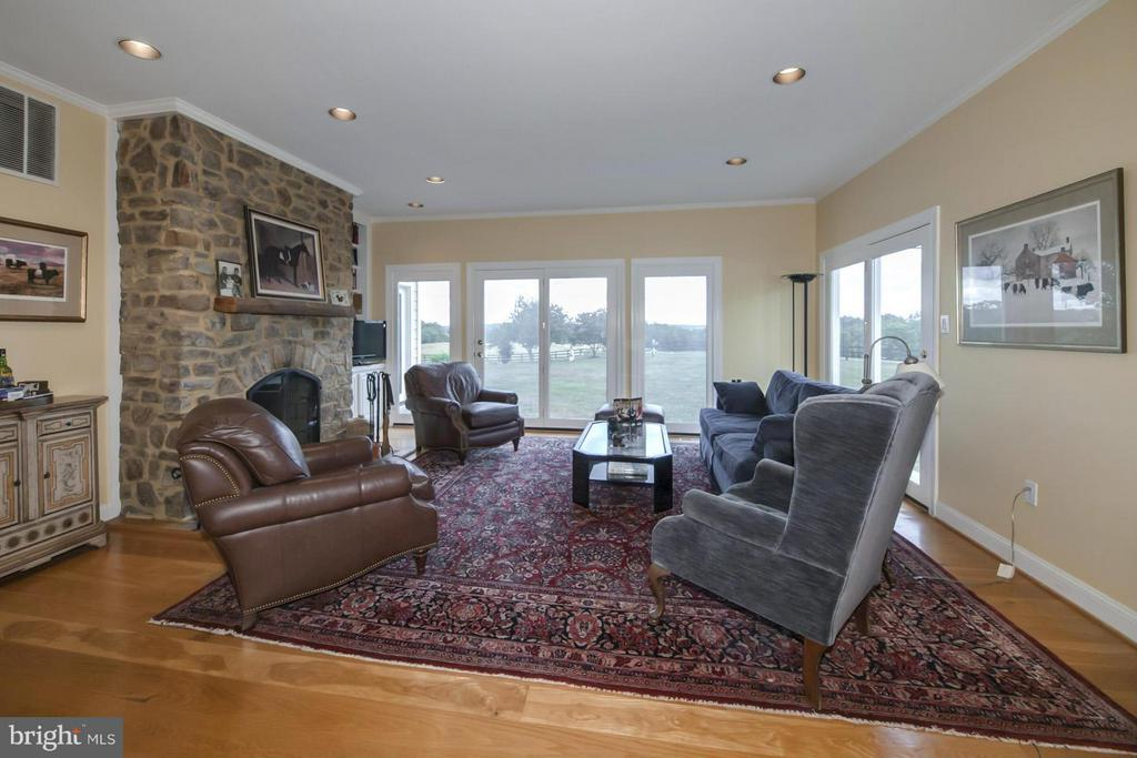 Family Room with Stone Fireplace. ~Wonderful views - 2933 ROKEBY RD, DELAPLANE