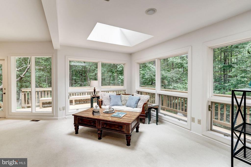 Sunroom-Walls of Windows Overlooking Deck - 740 POTOMAC RIVER RD, MCLEAN