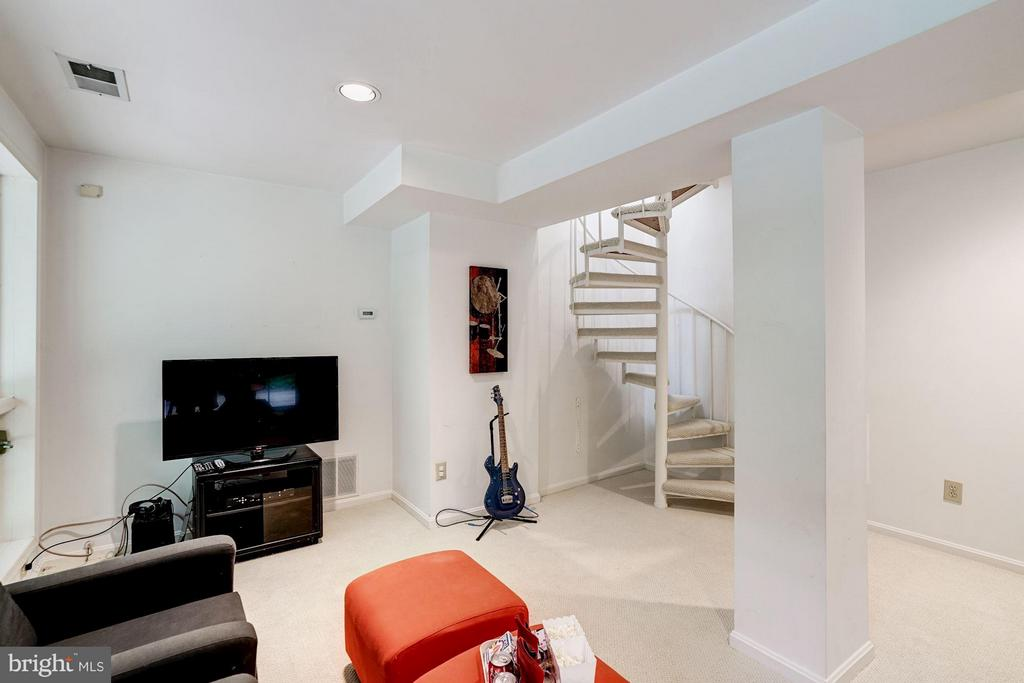 Finished Basement Rec Room w/ Spiral Staircase - 740 POTOMAC RIVER RD, MCLEAN