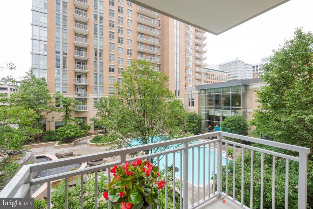 View of pool and fountain from balcony - 11990 MARKET ST #217, RESTON