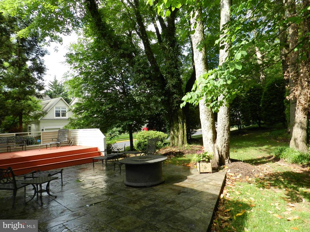 Stone patio and adjoining treed lawn - 9974 STONE VALE DR, VIENNA