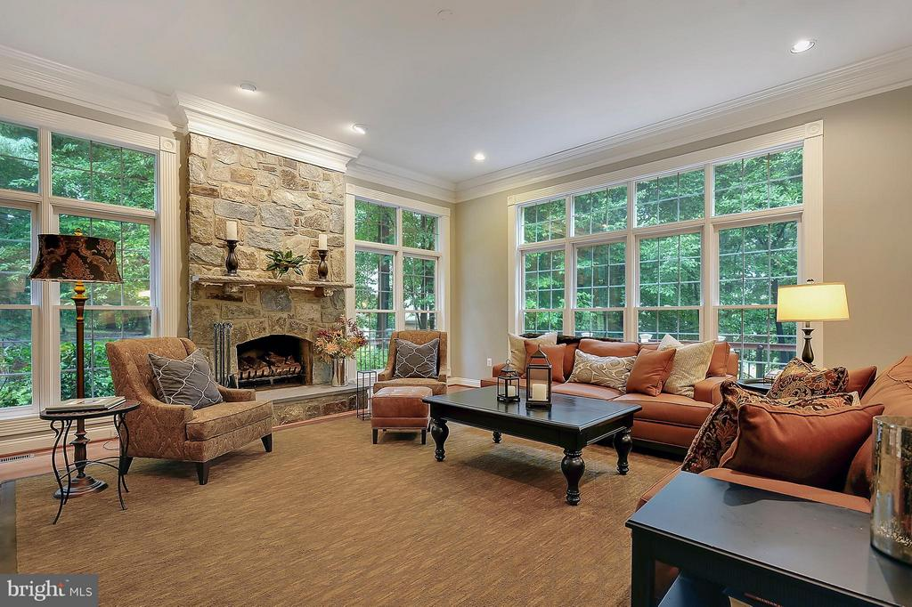 Family Room w/ FP and wall of windows - 306 SINEGAR PL, STERLING