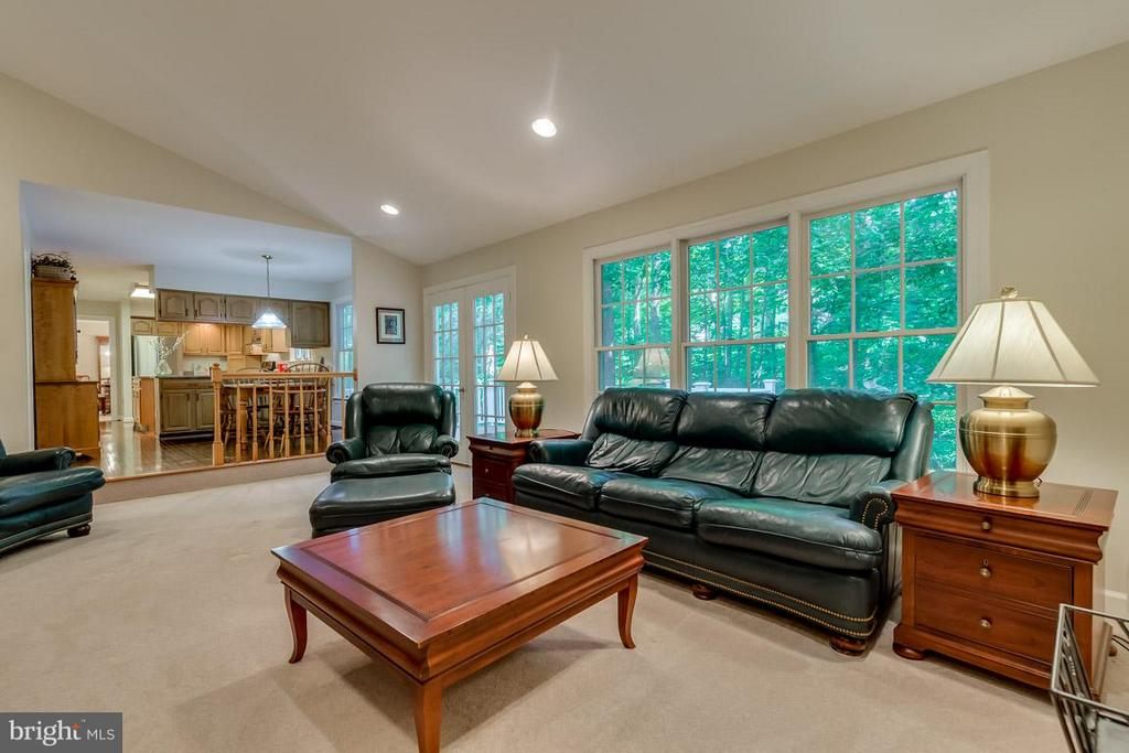 Family Room off kitchen: French doors to deck. - 9879 HEMLOCK HILLS CT, MANASSAS