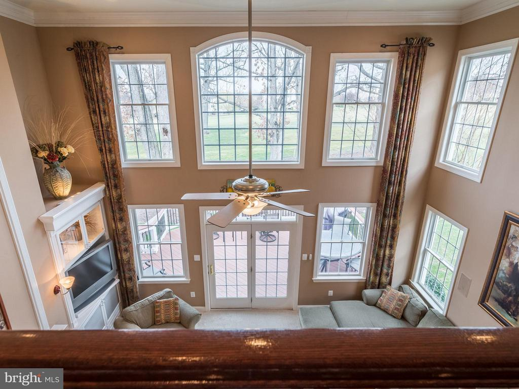 Overlook wall of windows in family room frm loft - 19825 BETHPAGE CT, ASHBURN
