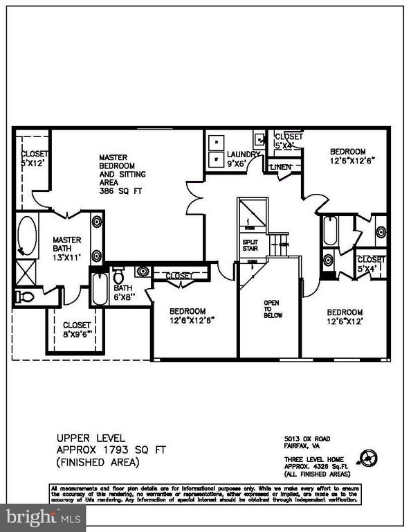 Upper level floor plan - 5013 OX RD, FAIRFAX