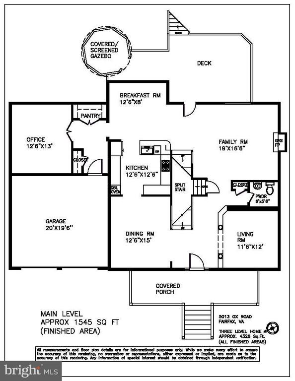 Main level floor plan - 5013 OX RD, FAIRFAX
