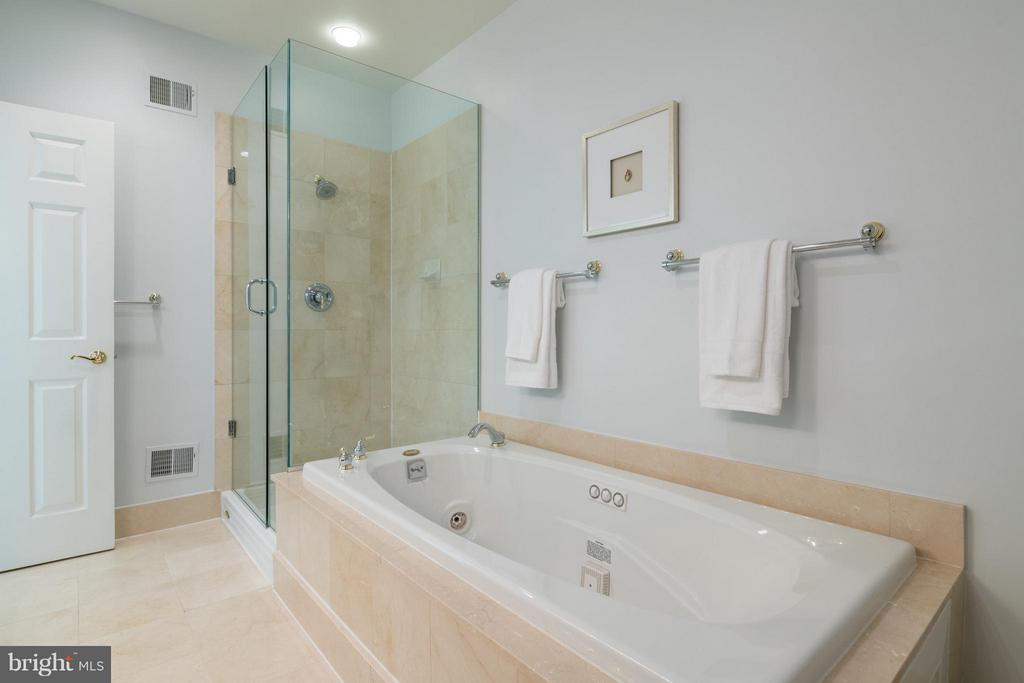 The master bath offers a tub and seamless shower - 130 COLUMBUS ST N, ALEXANDRIA