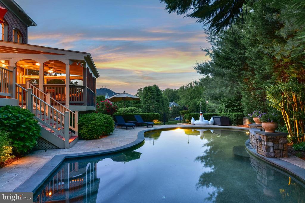 Pool and Screened Porch in~Summer Evening - 3013 ROSE CREEK CT, OAKTON