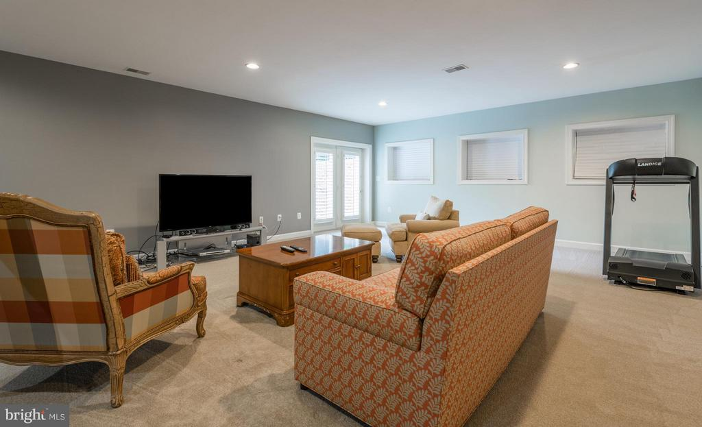 Recreation Room with French Doors to~Yard - 3013 ROSE CREEK CT, OAKTON