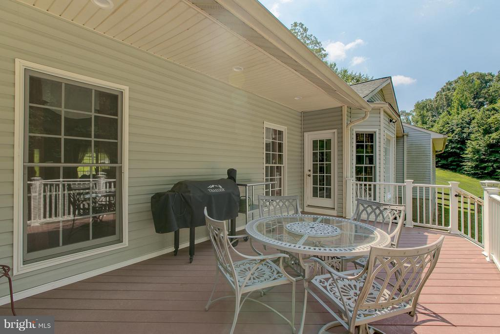 Large deck overlooking acres of trees - 615 BETHEL CHURCH RD, FREDERICKSBURG