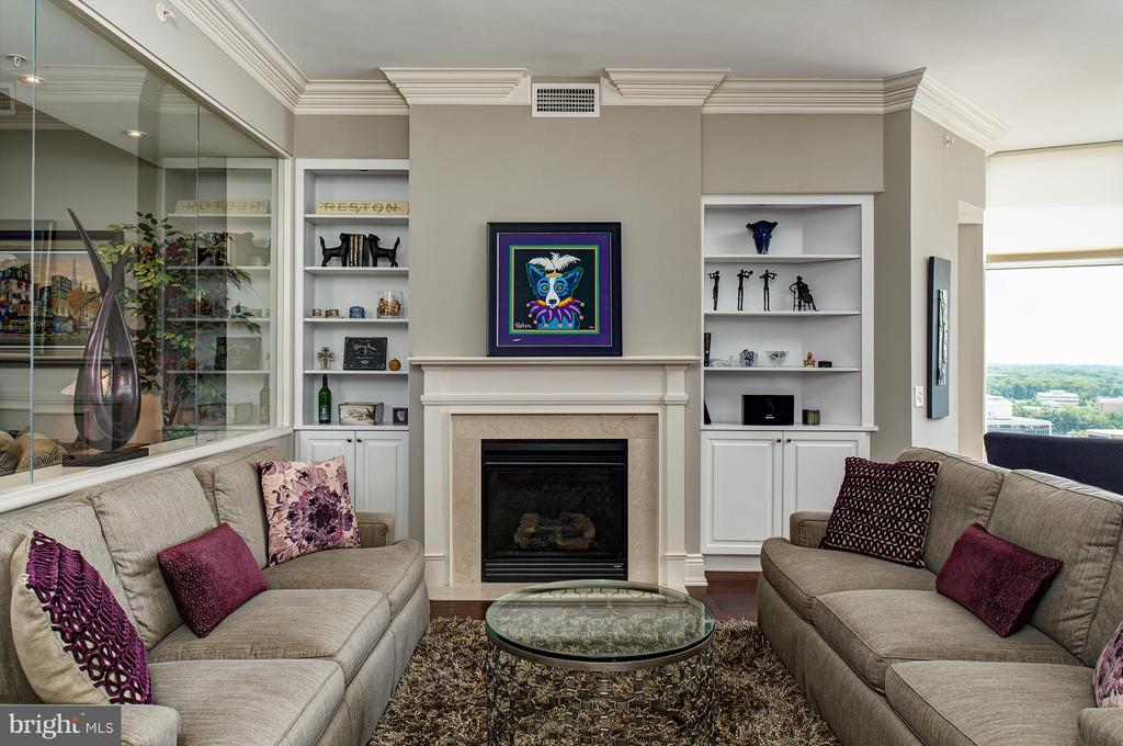 Living Room with gas fireplace - 11990 MARKET ST #1801, RESTON