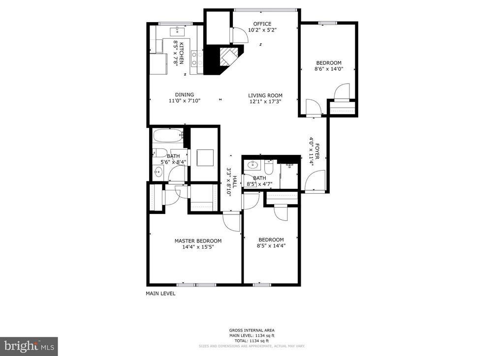 Large 3 BR floor plan - 1,123 square feet - 3903 GOLF TEE CT #326, FAIRFAX