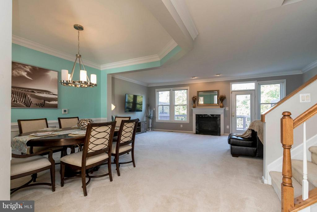 Main level has big windows and gas fireplace - 21043 ROAMING SHORES TER, ASHBURN