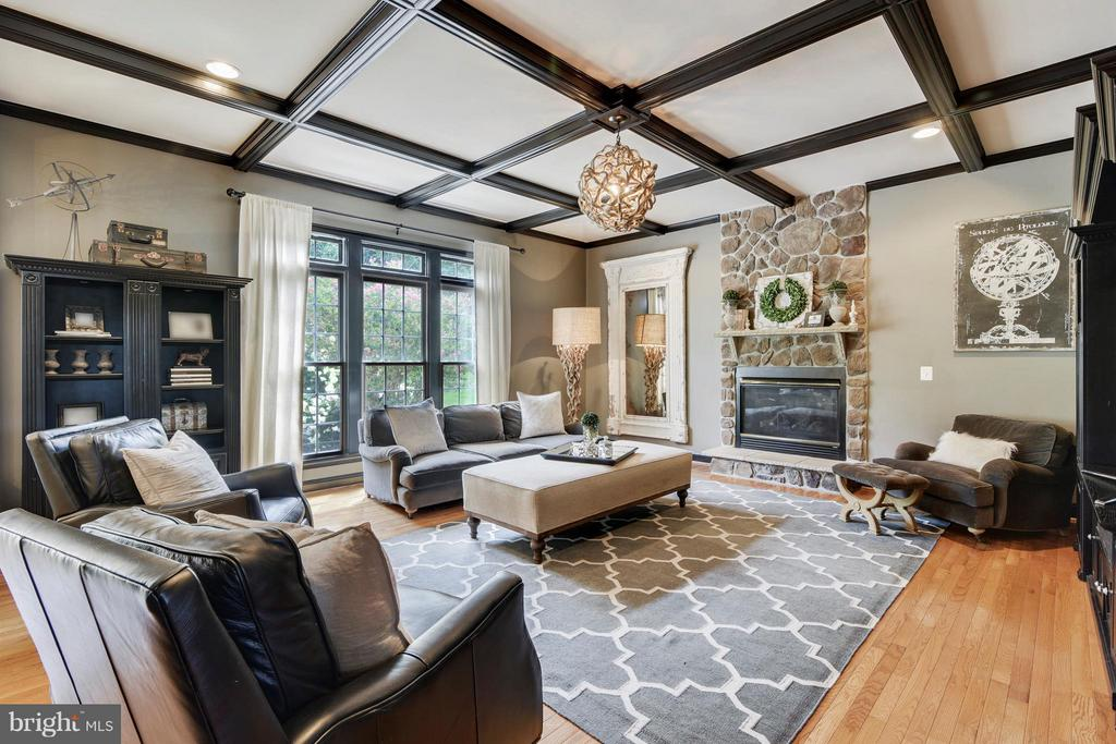 Stone FP and coffered ceilings adorn. - 27744 PADDOCK TRAIL PL, CHANTILLY