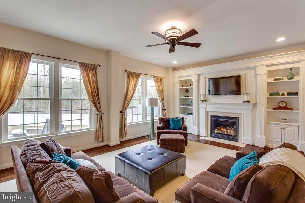 Family room with gas fireplace and built-ins - 9427 FERRY LANDING CT, ALEXANDRIA