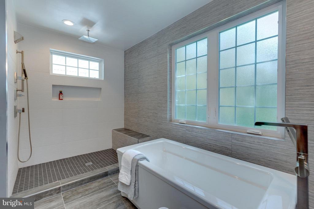 Floor to Ceiling Shower/Poracalin Tile floor - 3151 ANNANDALE RD, FALLS CHURCH