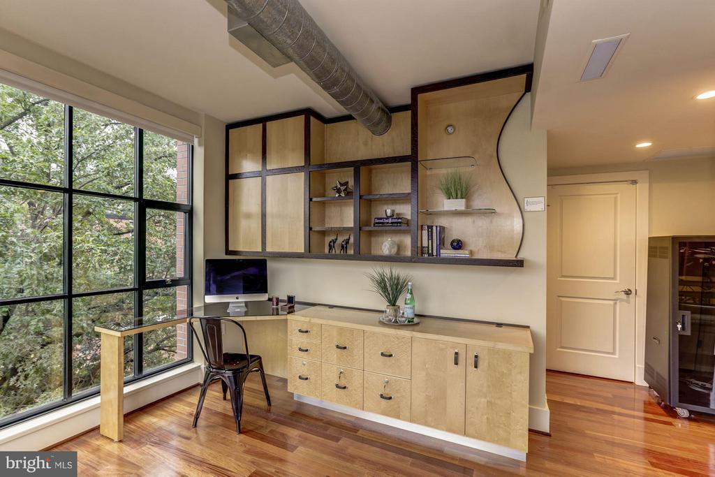 Birdseye maple custom built-in desk & shelves - 1600 CLARENDON BLVD #W301, ARLINGTON