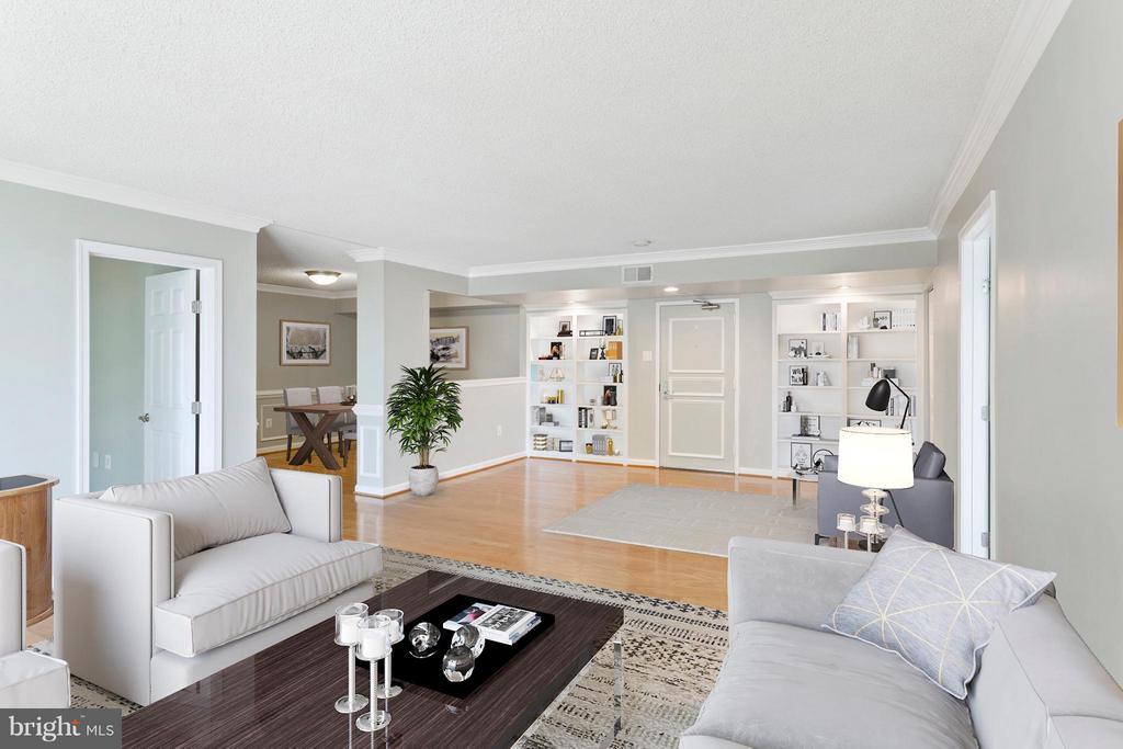 Living Room w/ built-ins & crown molding! - 1515 ARLINGTON RIDGE RD S #503, ARLINGTON