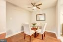 Dining room w/ brand new ceiling fan - 4600 FOUR MILE RUN DR #303, ARLINGTON