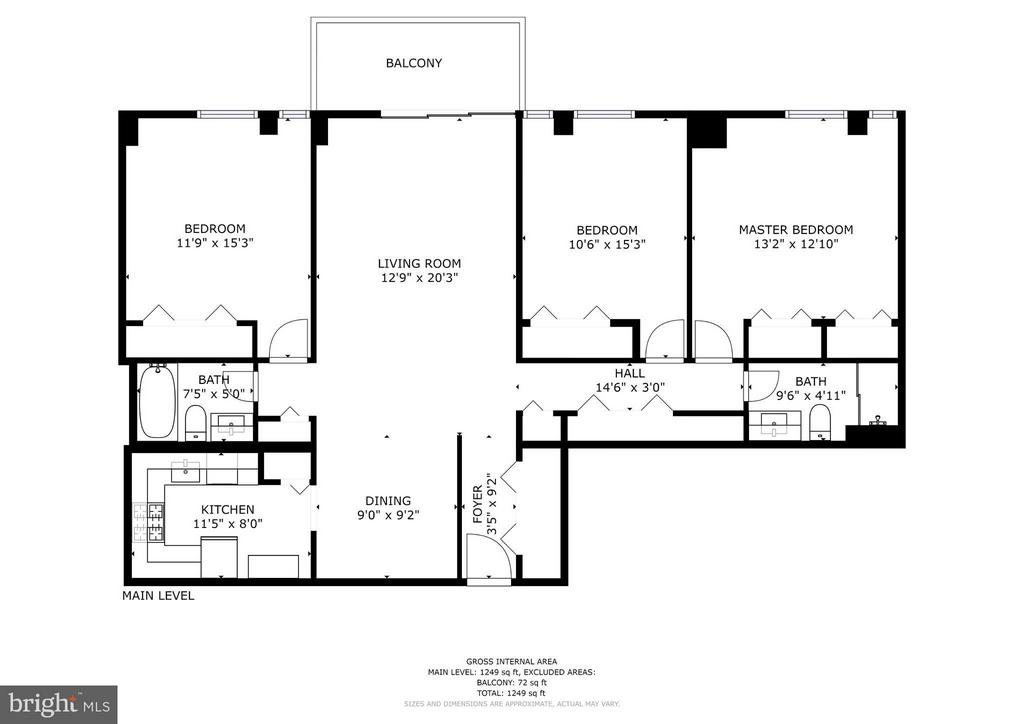 Large floor plan! 1,280 square feet - 4600 FOUR MILE RUN DR #303, ARLINGTON