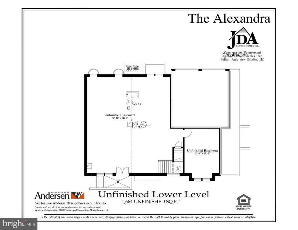 The Alexandra Unfinished Lower Level Floor Plan - 10317 BURKE LAKE RD, FAIRFAX STATION