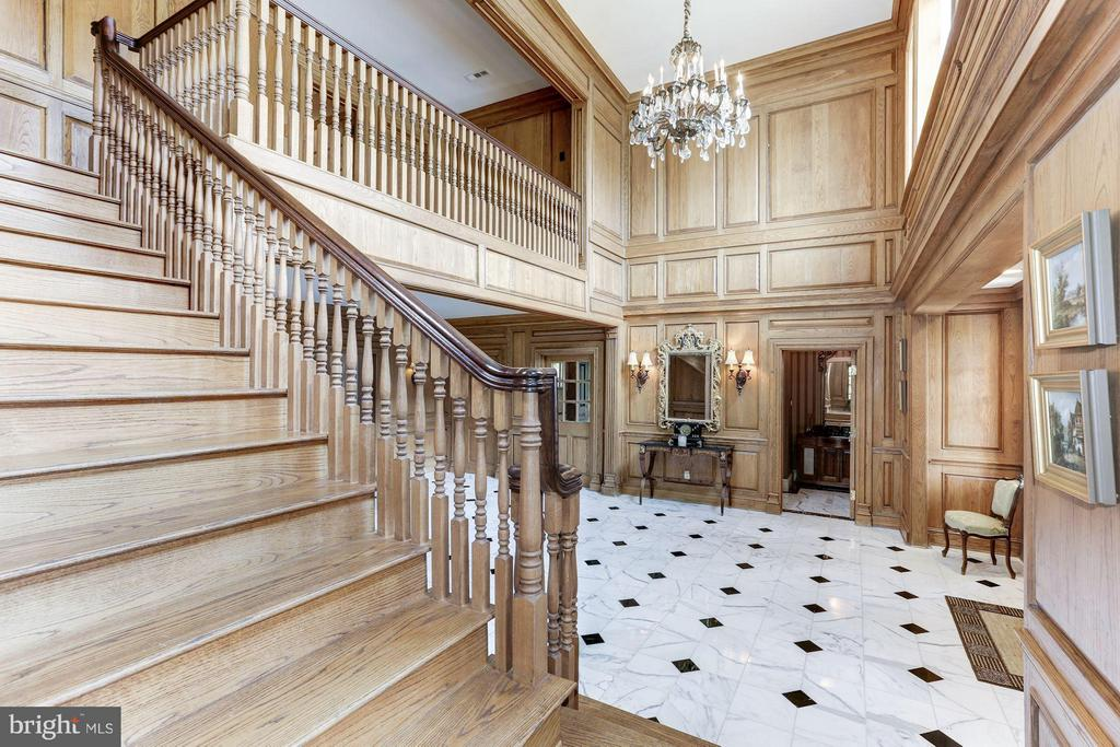 Grand Oak Foyer, Intricate Moldings, Marble Floors - 1001 MURPHY DR, GREAT FALLS