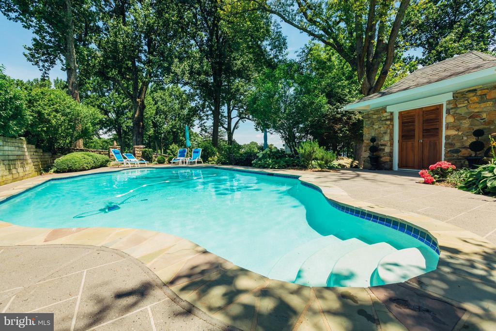 New concrete patio with heated pool/pool house. - 18490 BLUERIDGE MOUNTAIN RD, BLUEMONT