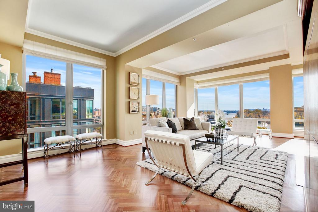 Formal Living Room with Potomac River Views~ - 3150 SOUTH ST NW #PH2D, WASHINGTON