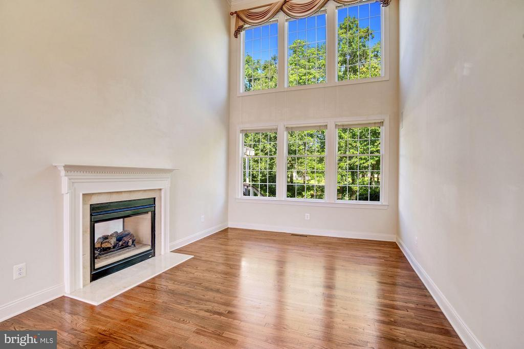 Living Room w/ Fireplace / Wall of Windows - 20093 WHISTLING STRAITS PL, ASHBURN