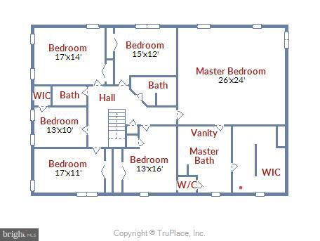 Floor Plan - Upper Level - 1341 GORDON LN, MCLEAN