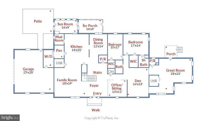 Floor Plan - Main Level - 1341 GORDON LN, MCLEAN