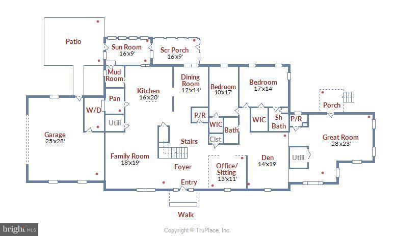 Floor Plan - Main Level - 1341 GORDON LN, MCLEAN
