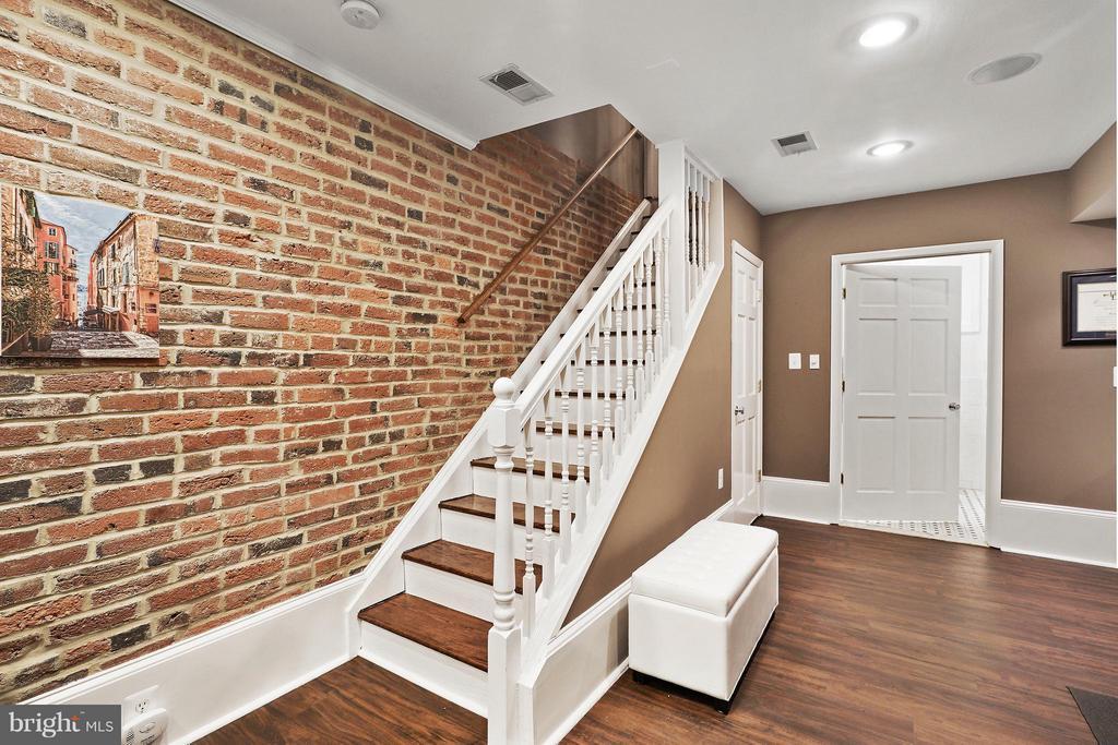 Recreation Room with Exposed Brick Walls - 1447 FLORIDA AVE NW, WASHINGTON