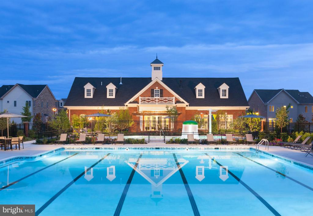 Community Clubhouse Rear View with Pool at Dusk - 22641 NORWALK SQ, ASHBURN