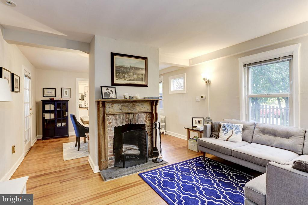 Living Room with  Wood Burning Fireplace - 3837 ALBEMARLE ST NW, WASHINGTON