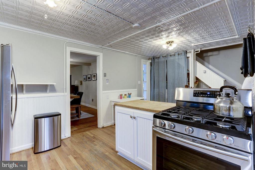 Kitchen with Island and original Tin Ceiling - 3837 ALBEMARLE ST NW, WASHINGTON