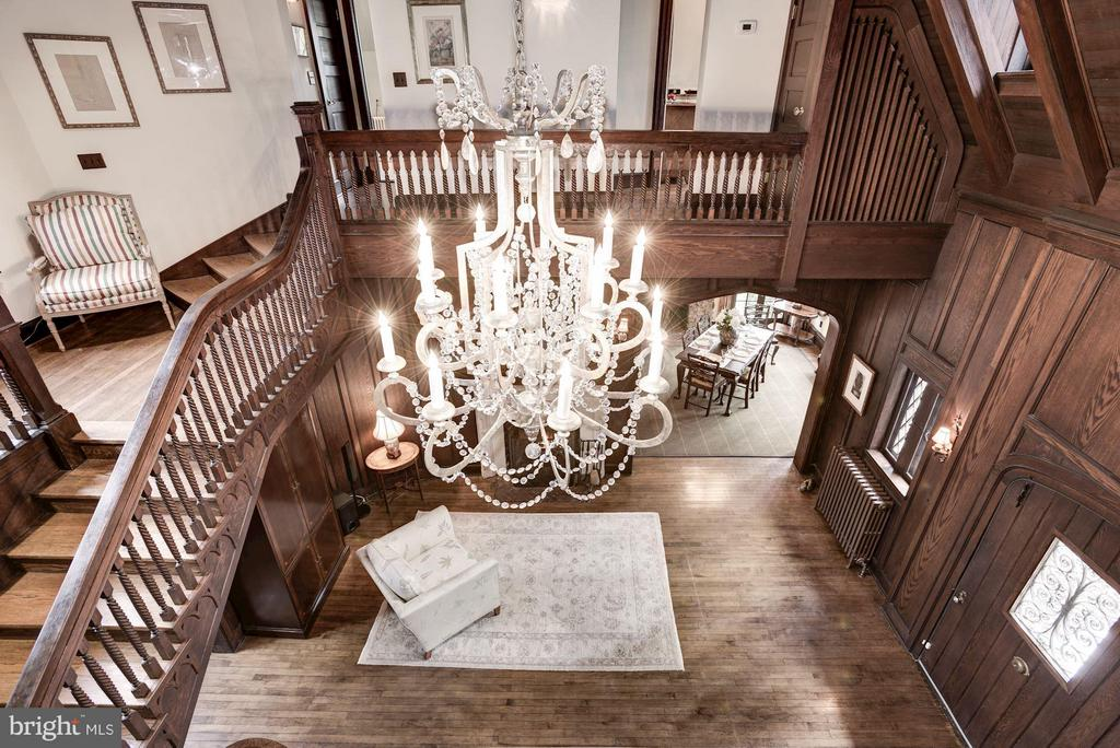 Great Hall & crystal chandelier from upper foyer - 8110 GEORGETOWN PIKE, MCLEAN