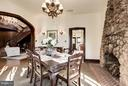 Dining room with antique wrought iron chandelier - 8110 GEORGETOWN PIKE, MCLEAN