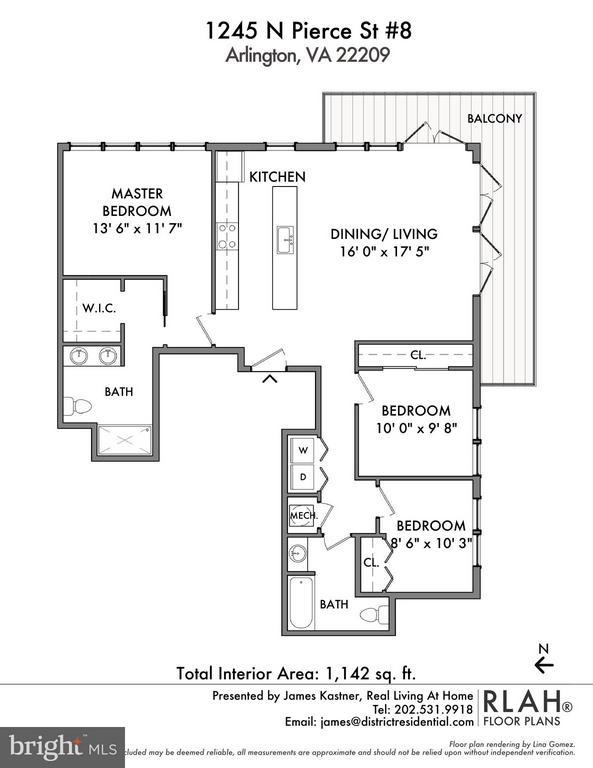 Floor plan for unit #8 - 1245 PIERCE ST N #8, ARLINGTON