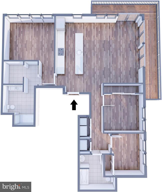 3D floor plan for unit #8 - 1245 PIERCE ST N #8, ARLINGTON