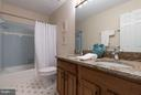 Upper level hall bathroom with 2 sinks - 9879 HEMLOCK HILLS CT, MANASSAS