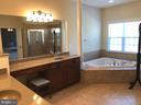 Luxurious master bath with his and her vanities. - 6 SCARLET FLAX CT, STAFFORD