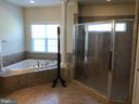 Large soaker tub next to gigantic tile shower. - 6 SCARLET FLAX CT, STAFFORD