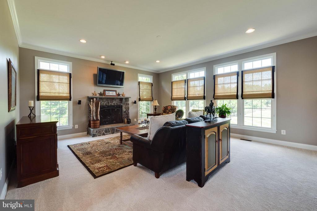 Family Room with Stone Wood-Burning Fireplace - 40728 CHEVINGTON LN, LEESBURG