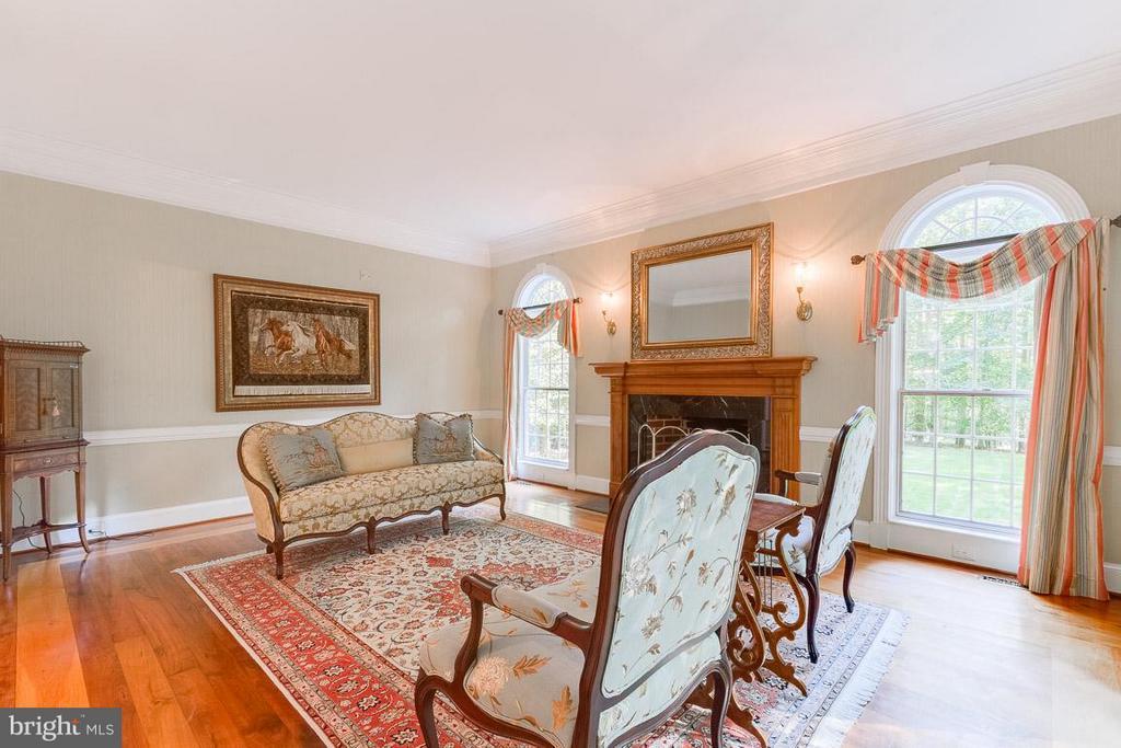 Elegant living room with gas fireplace. - 11102 DEVEREUX STATION LN, FAIRFAX STATION